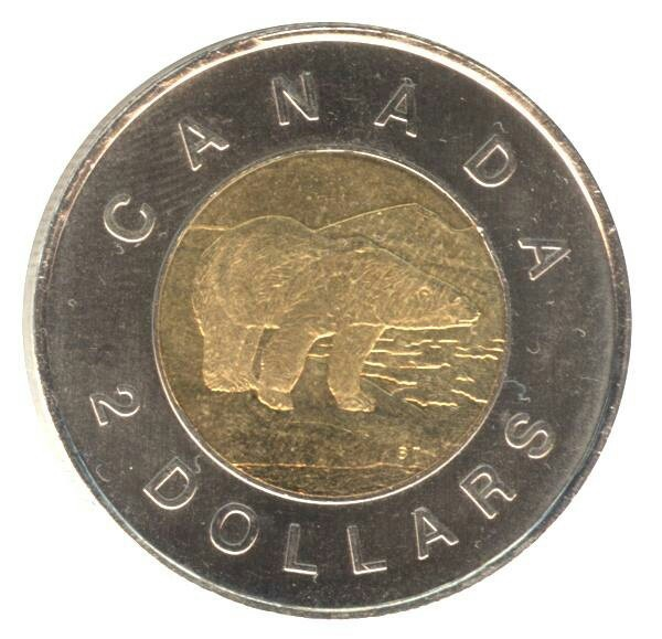 Toonie ~ 2 dollar coin in Canada