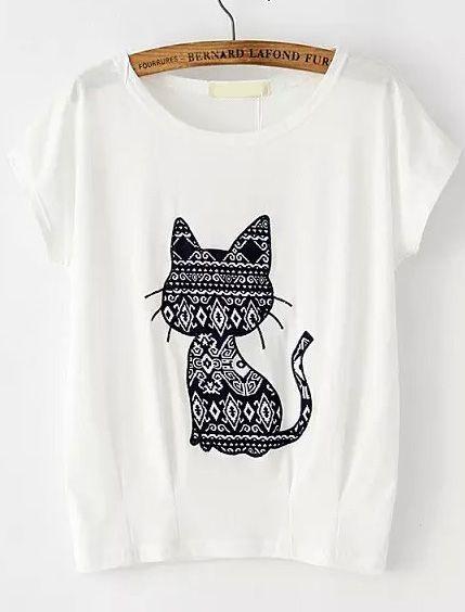 Camiseta gato diseño-(Sheinside)