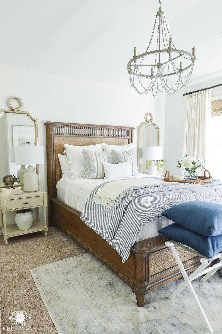 Kelley Nan: One Room Challenge- Classic Blue and White Guest Bedroom Reveal