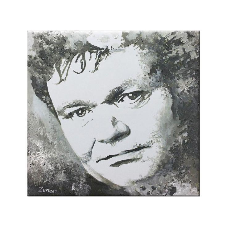 Portret schilderij van Andre Hazes in zwart-wit, met acrylverf op canvas, formaat 80 x 80 cm   Kunstvoorjou.nl #schilderij #portret #AndreHazes #zwart-wit #canvas #muurdecoratie #artiest #muziek #kunst #Hazes #Amsterdam