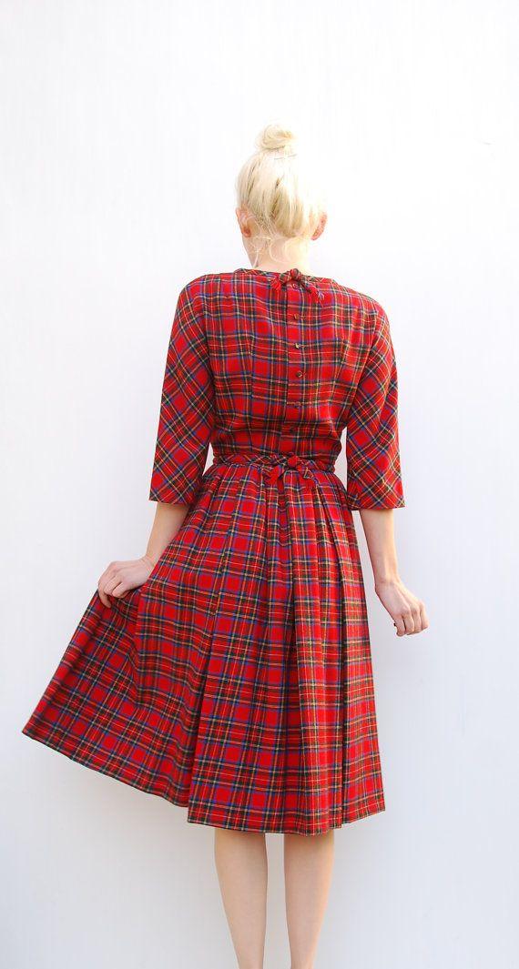 60s Lanz Red Plaid Dress - Winter Fashion - Lanz Wool Dress - 1960s Lanz Original - Full Sweep Skirt Dress