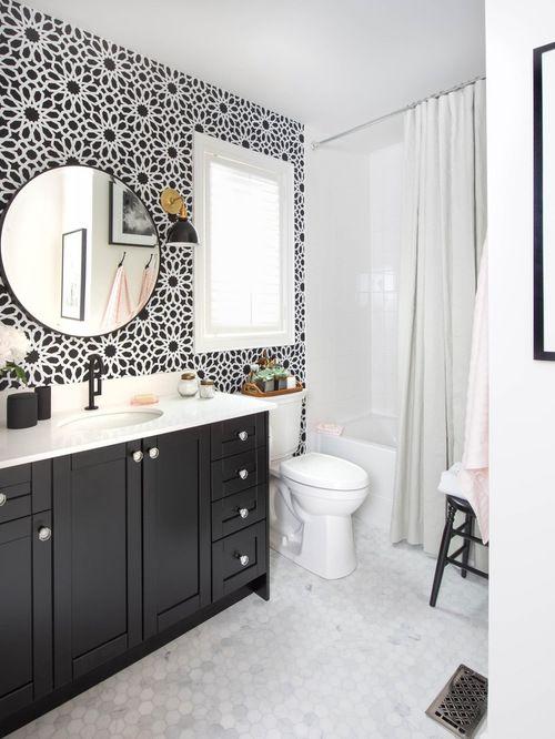 Badezimmer 48 Zeitgenössische Schwarz-Weiß-Badezimmerdesigns Stellt hoch ein, das für Schwarz-Weiß-Badezimmerfliesenideen bestimmt ist
