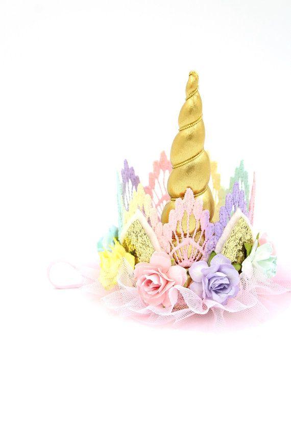 Unicornio flor encaje corona venda  oro  pasteles