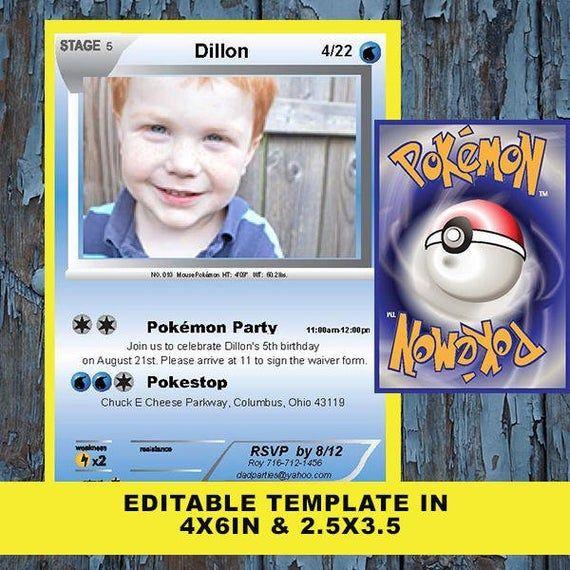 Pokemon Invitation Pokemon Card Pokemon Birthday Invitation Etsy In 2020 Pokemon Invitations Pokemon Birthday Pokemon Party