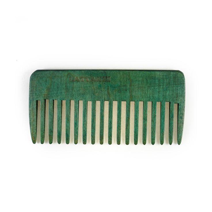 Pettine verde lineare a denti alti in legno per capelli