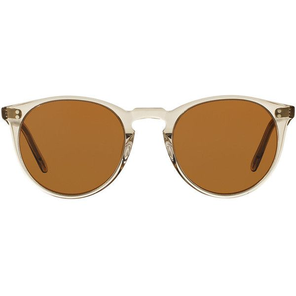 Oliver Peoples The Row O'Malley NYC Peaked Round Sunglasses ($470) ❤ liked on Polyvore featuring accessories, eyewear, sunglasses, olive, studded sunglasses, round keyhole sunglasses, keyhole glasses, transparent glasses and keyhole sunglasses