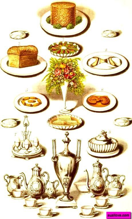 Typical Regency Era Light Meal.  Brawn, Mustard and Cress, Bread, Hot Rolls, Oysters and Bacon, Kidneys, Eggs, Butter. Photo editing by suzilove.com   From: 1882  Warne's Model Housekeeper, London.