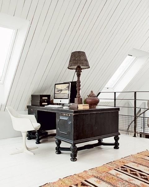 Bright attic office