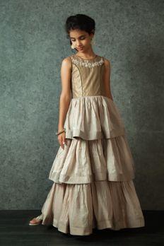 Embroidered three-layer gown embellished with zari work from #Benzer #Benzerworld #kidswear #gowns #indowesternwear