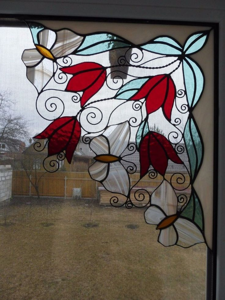 SET 2 Tiffany Style Stained Glass Window Panels Corner, Butterflies and Flowers #Handmade