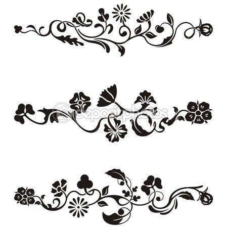 Dessins ornementaux Frise avec détails floraux, série vector.