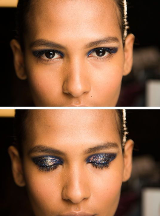 Pretty Makeup Look: Thakoon's Blue-and-Gold Eyeshadow  To match the rich fabrics of Thakoon's collection, makeup artist Diane Kendal used a midnight blue shadow and added glitter on top. If you're itching to try it at home, copy these seven easy steps.