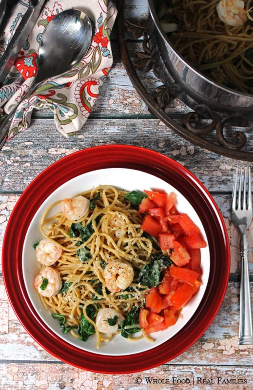 Garlicy Pasta with Sauteed Shrimp and Chard. A clean eating, whole food recipe. No refined ingredients. #WeekdaySupper