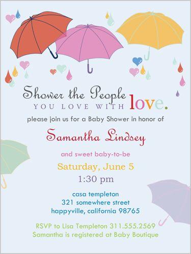 pretty parasols baby shower invitation