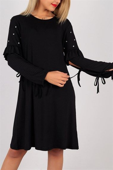 Taş Detay Siyah Bayan Elbise Tunik 5628B