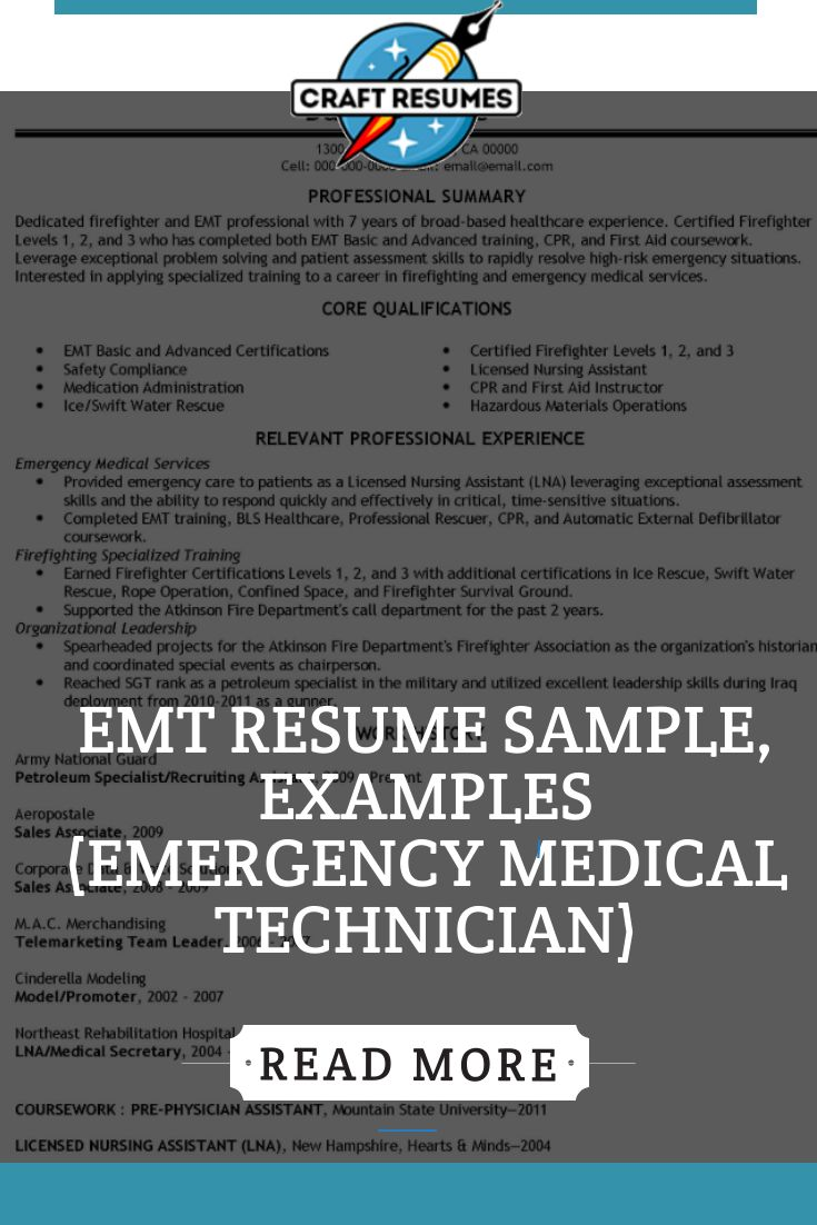 EMT Resume Sample, Examples Resume writing examples