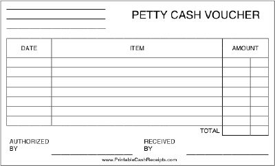 This printable petty cash voucher includes room to list for Cash disbursement journal template