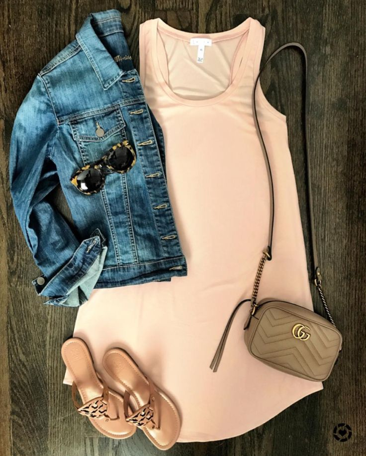 Flat Lays of the Week | perfect tanks dress under $50, denim jacket, Tory burch miller sandals, Gucci marmont crossbody