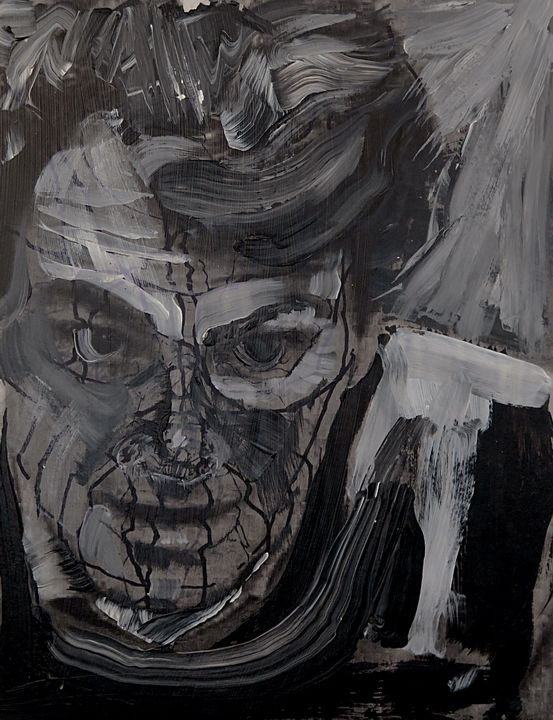 Tim Dayhuff - painting - black and white acrylic and marker on internet photocopy on panel - 2013