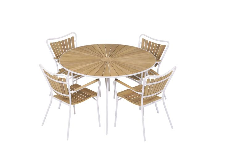 The famous Marguerit retro set for the garden or patio. Folding table with diameter of 120cm and height 68cm plus four stackable chairs...all with teak and powder coated aluminium frame.  design by Mandalay Denmark please visit www.mandalay.dk