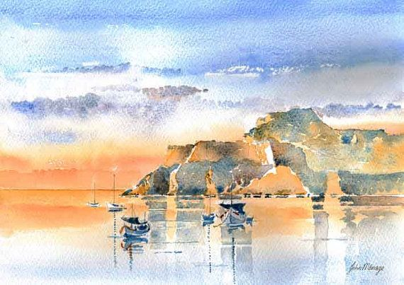 Old Fort Sunset Corfu town Corfu Greece,  Watercolour print A3 via Etsy