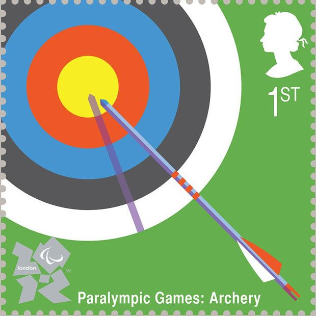 Paralympic archery illustrated by George Hardie    Royal Mail first class postage stamps launched for London 2012 Olympic Games