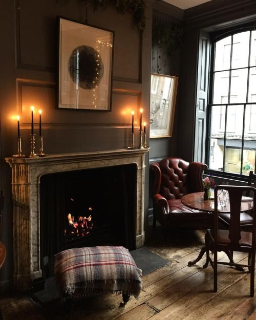 Period room with period antiques and an open fire. Perfect for fall and the upcoming winter. via