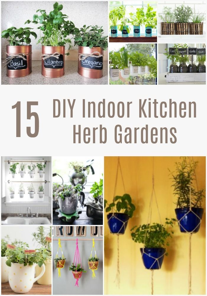 15 Diy Indoor Kitchen Herb Gardens Growing Your Own Herbs In Your Kitchen Is A Great Way To Easily Herb Garden In Kitchen Diy Herb Garden Indoor Herb Planter