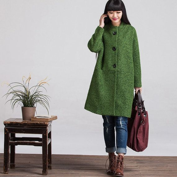 Long Sleeved Wool Winter Coat Jacket for Women Outwear - Women Clothing - Green