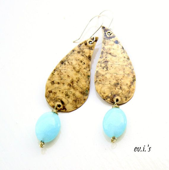 Blue Jade Brass Paisley Teardrop by EVIsMetalworkJewelry on Etsy, €24.00