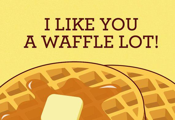 Waffles card I like you a waffle lot pun funny by TinyBeeCards