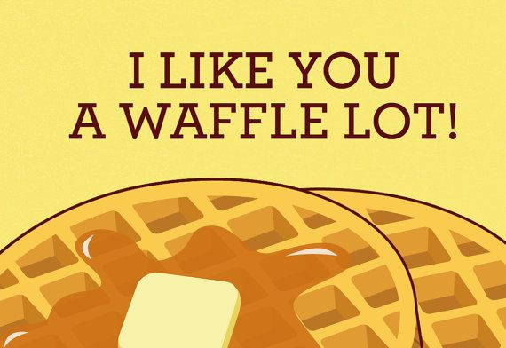 Waffles card I like you a waffle lot pun funny by TinyBeeCards