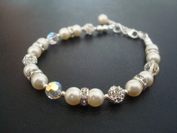 Serina bracelet - Swarovski crystal and pearl wedding bracelet available from Lou Lou Belle Designs http://www.louloubelle.co.uk/bracelets_bridal.html