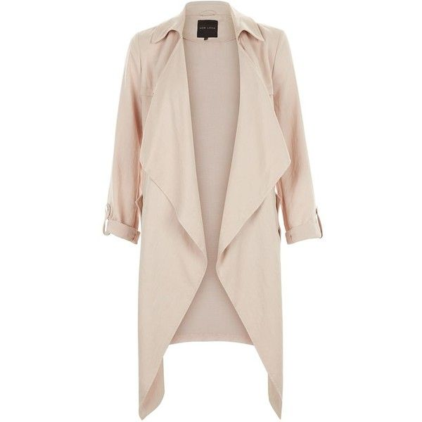 Shell Pink Waterfall Duster Coat featuring polyvore, women's fashion, clothing, outerwear, coats, shell pink, duster coat, waterfall coat, pink coat and long sleeve coat