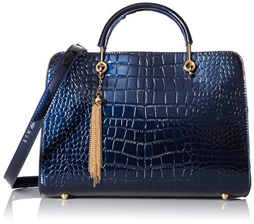 MG Collection Faux Patent Leather Crocodile Satchel Bag, Blue, One Size