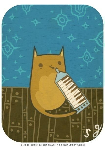"""MELODICAT  by Susie Ghahremani @Lyenna Kobayashi: """"look mom I can play the flute with my nose!"""""""