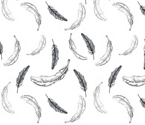 feathers fabric by e-lkh on Spoonflower - custom fabric