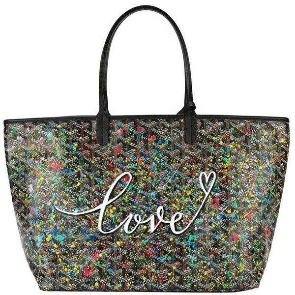 """Preowned Customised Goyard Monogram St Louis """" Love"""" Bag (11.010 BRL) ❤ liked on Polyvore featuring bags, handbags, tote bags, black, totes, goyard tote bag, vintage leather purse, monogrammed tote bags, goyard tote and leather handbags"""