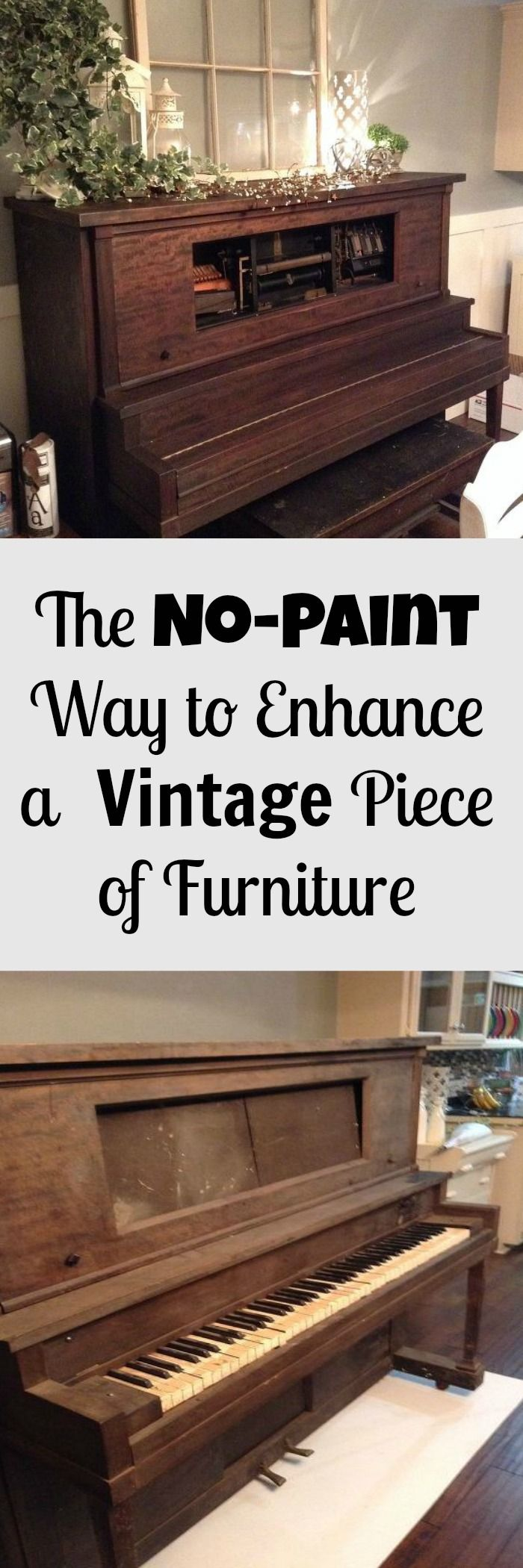 These piano had been exposed to outdoor elements for over 25 years ~ instead of painting it they accidentally found a beautiful finish and made the most of it!