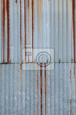 Sticker textuur metaal, roestige golfplaten