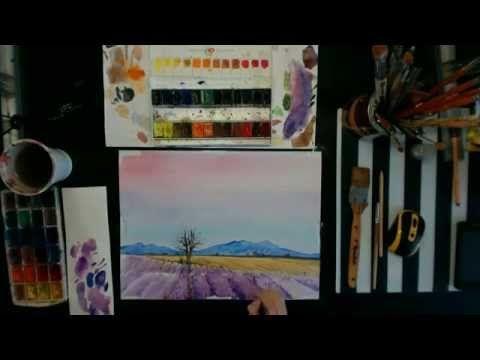 Рисуем лавандовые поля акварелью. Speed Painting - Ярмарка Мастеров - ручная работа, handmade