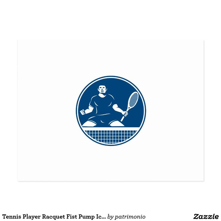 Tennis Player Racquet Fist Pump Icon Postcard. Icon illustration of a tennis player with racquet fist pumping set inside circle flames on isolated background done in retro style. #tennis #olympics #sports #summergames #rio2016 #olympics2016