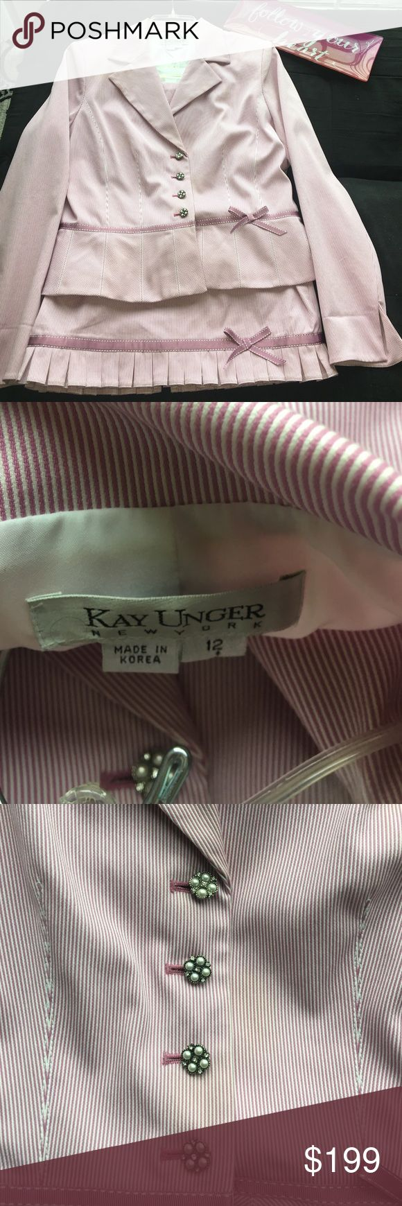 Kay unger suit set Worn to attend two  weddings still looks new great lady chic suit. Purchased from Neiman marcus a few years back,  2pc set Kay Unger makes the best suiting Kay Unger Skirts Skirt Sets