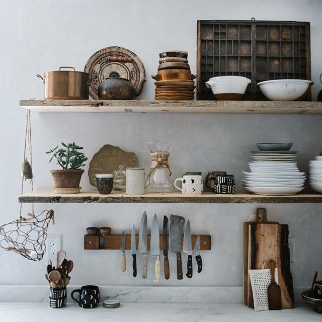 Open shelves, rustic kitchen