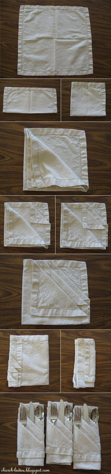 Folded napkins.