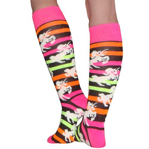 Funky neon knee high socks with Unicorns.