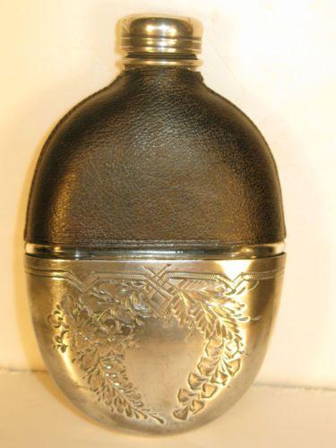 Antique Victorian Vintage Hip Flask Leather Silver ...