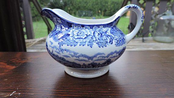 Enoch Woods BLUE English Scenery Tranferware Creamer Wood &