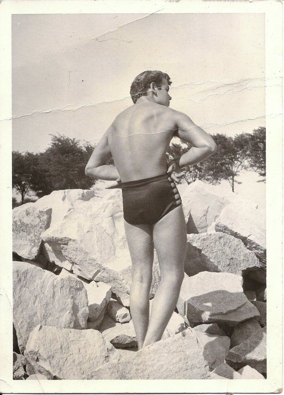 4fe480b845489 Vintage Photo - Man in Swimsuit at Beach - 1940s - Male Physique - Gay  Interest - Bodybuilder - Blac