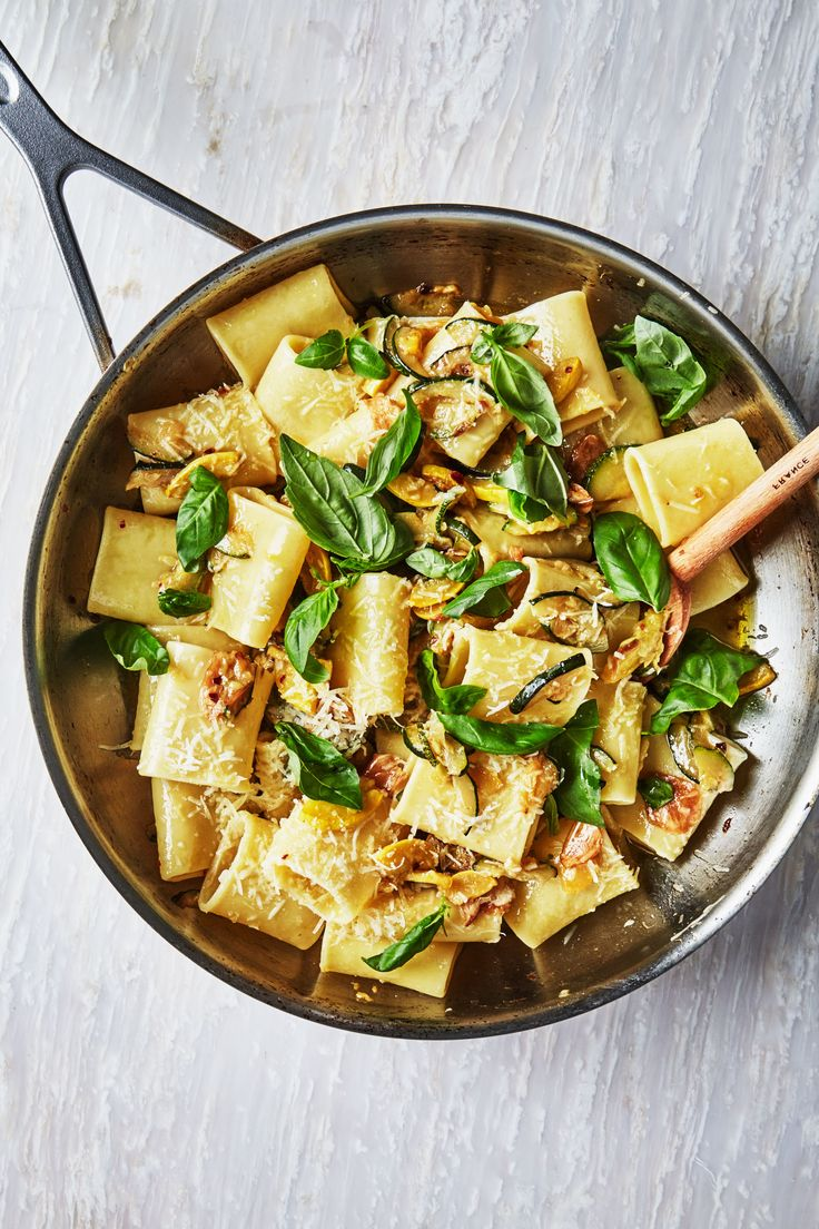 Summer Squash And Basil Pasta - Sautéed squash eventually gets jammy and saucy if cooked long enough, ideal as a way to coat big pieces of pasta.